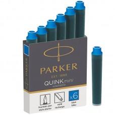 Синие неводостойкие картриджи Parker (Паркер) Quink Mini Cartridges Washable Blue 6шт