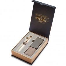 Подарочный набор из ручки Parker (Паркер) 5th Ingenuity Slim Pearl PGT и чехла